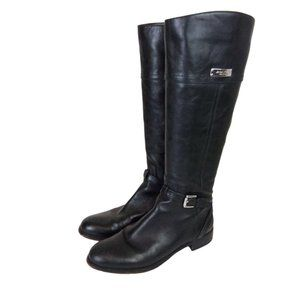 Coach Micha Black Leather Riding Boots